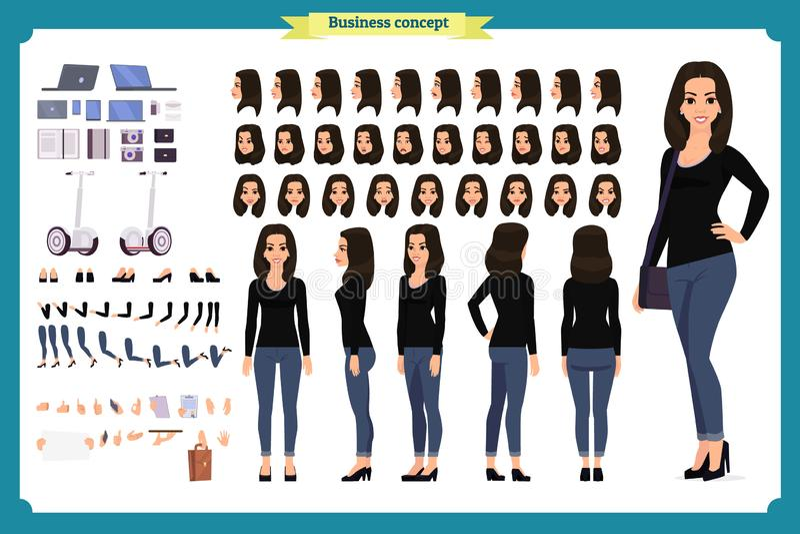 少妇,便衣 字符创作集合 全长,不同的看法,情感,姿态,被隔绝 设计 库存例证