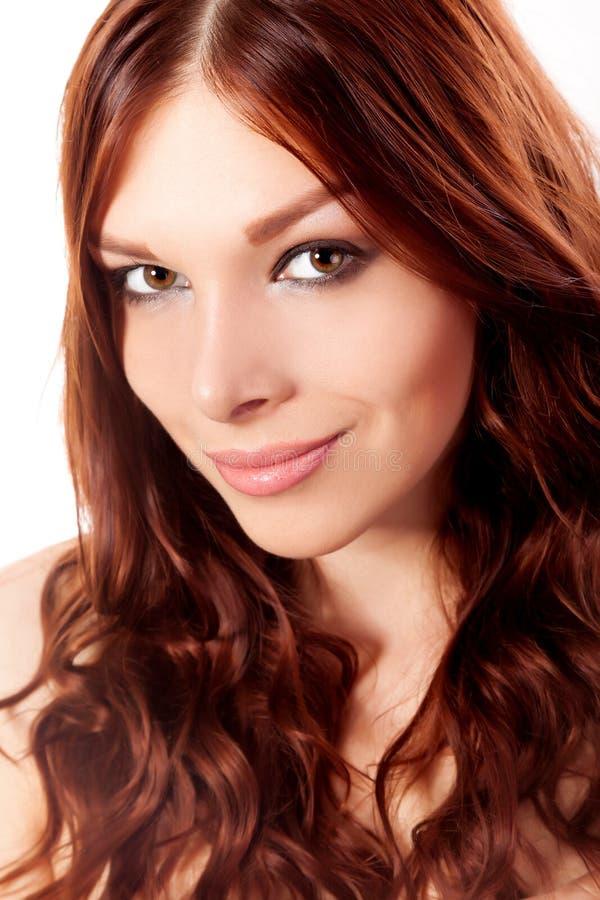 少妇画象有红色头发的 免版税图库摄影