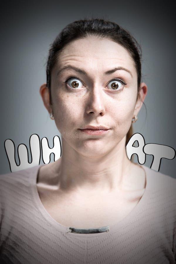 少妇画象有震惊表情的 库存图片