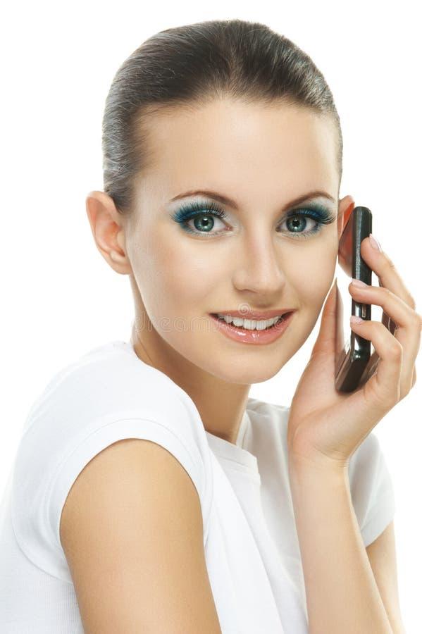 少妇画象谈话在电话 图库摄影