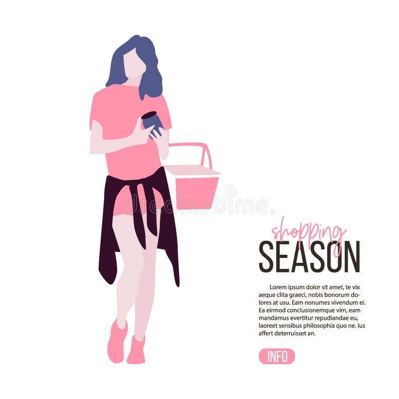 少妇buing的食物,拿着购物bascket平的例证 顾客产品选择 妇女在超级市场ar 库存例证