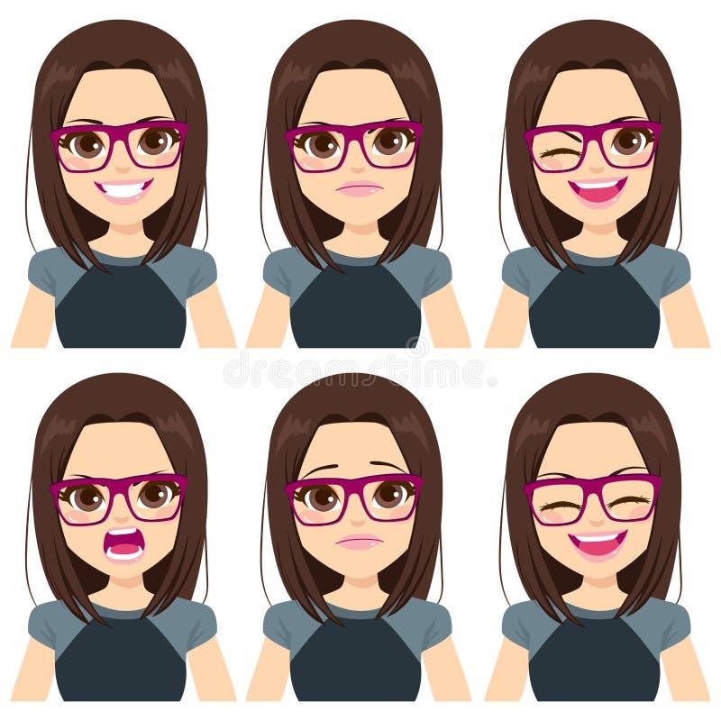 少年女孩面孔固定的表达 库存例证
