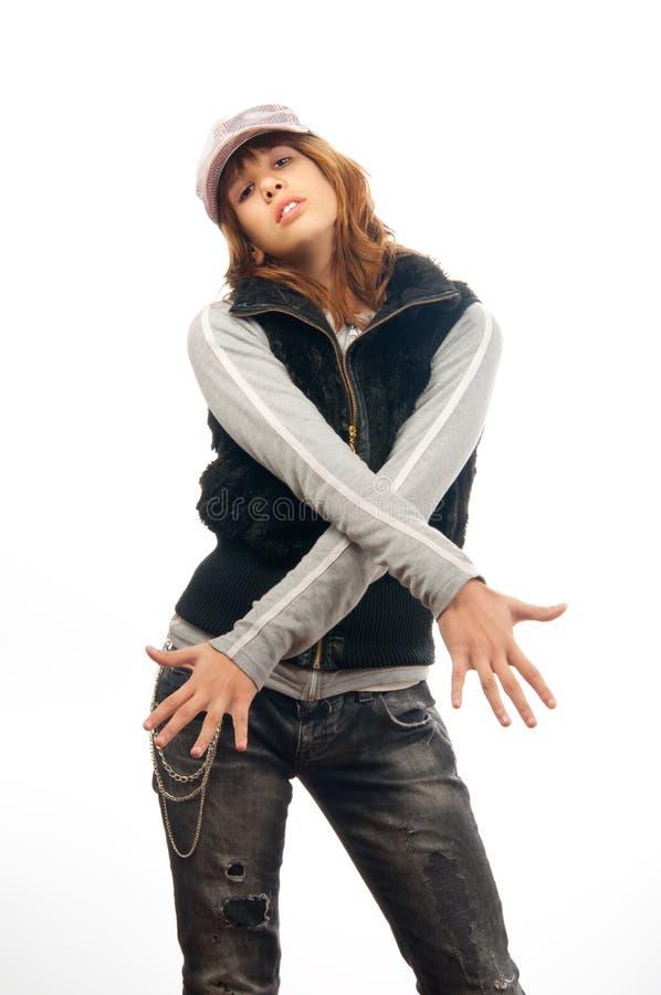 少年慢美好的舞蹈女孩的交谈者 库存图片