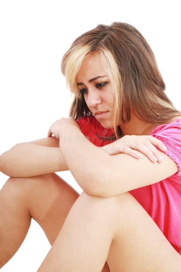 少年沮丧的女孩 库存图片