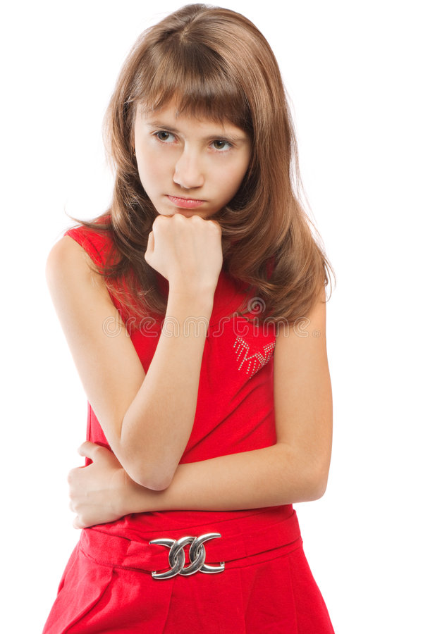 少年生气的女孩 库存图片