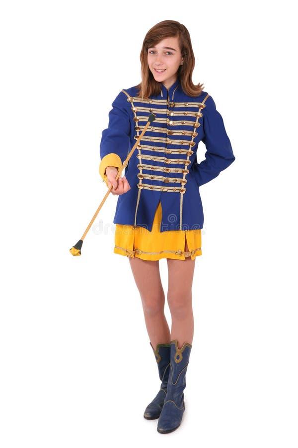 少年的军乐队女队长 库存照片