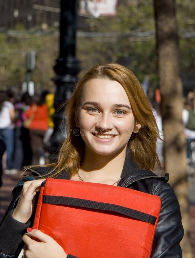 少年的女学生 免版税库存照片