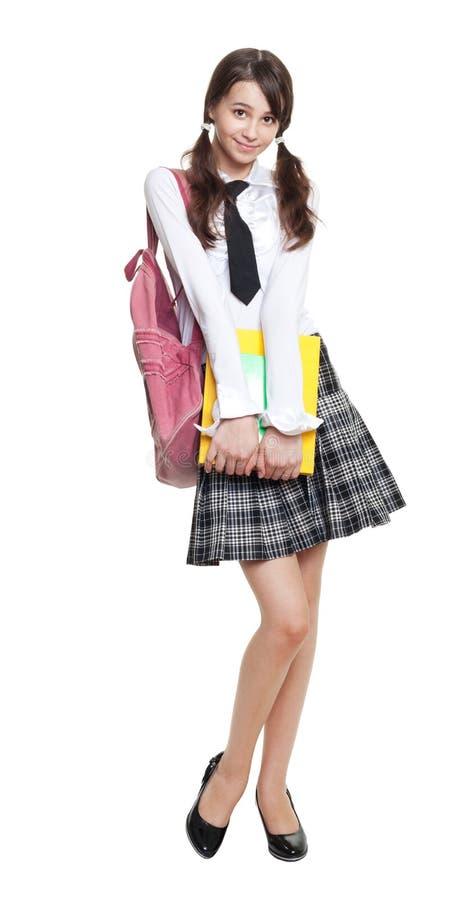 少年美丽的女小学生 免版税库存照片