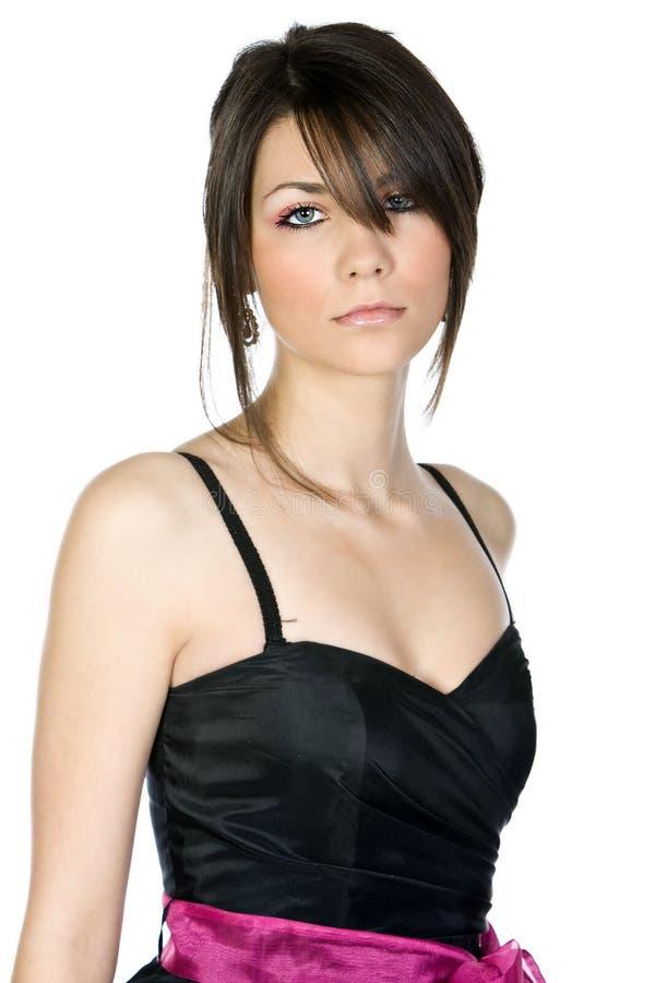 少年美丽的黑人礼服的女孩 免版税库存图片