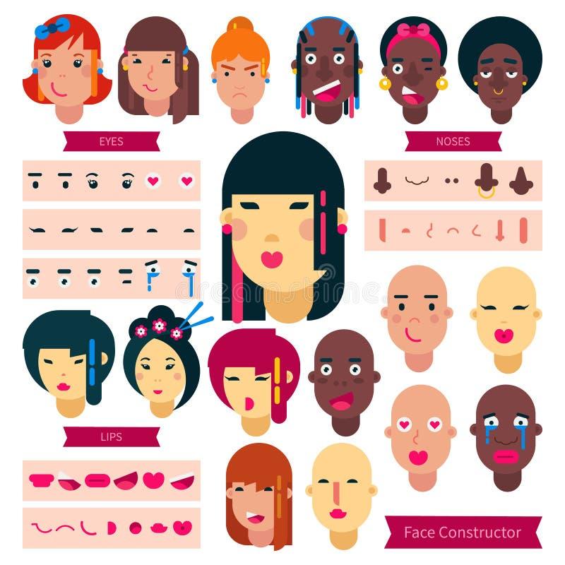 少年面孔建设者传染媒介青少年的字符女孩或男孩具体化创作例证套面部元素 皇族释放例证