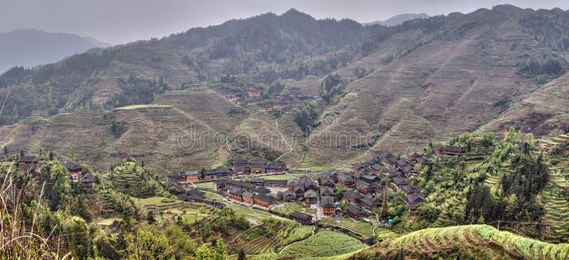 少数族裔窑村大寨,龙胜,广西,中国, 免版税库存照片