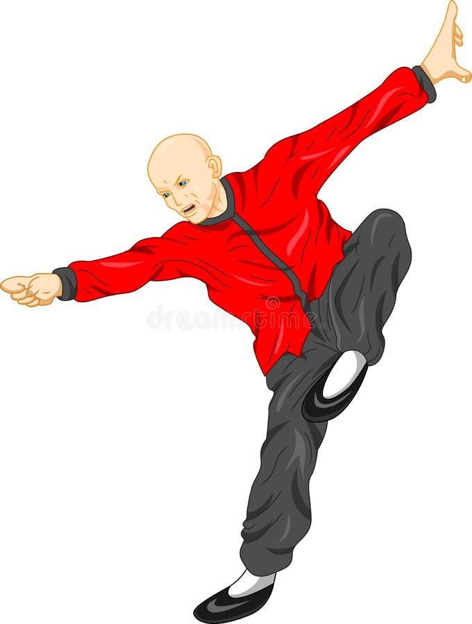 少林修士kung fu武术 向量例证