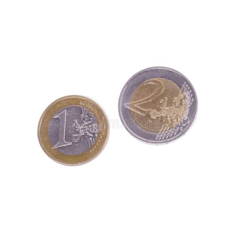 少量欧元硬币 库存图片