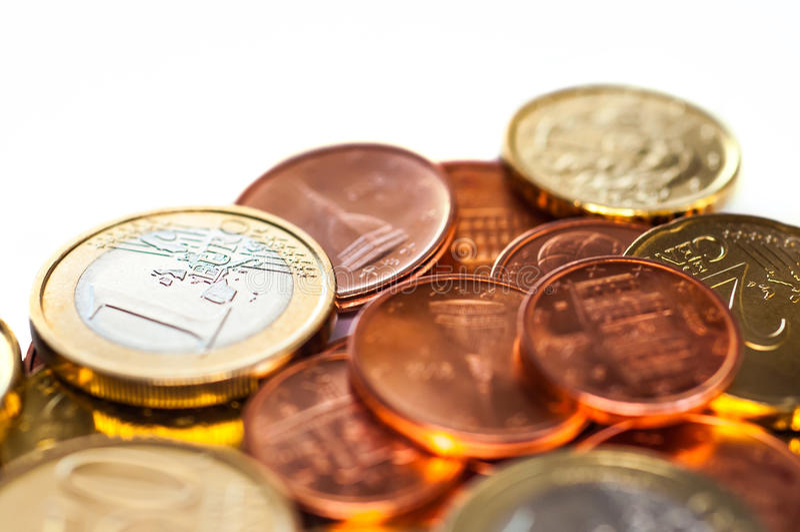 少量欧元硬币 免版税库存图片