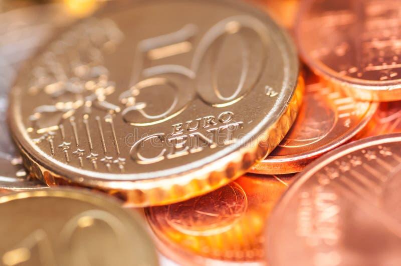 少量欧元硬币 免版税库存照片