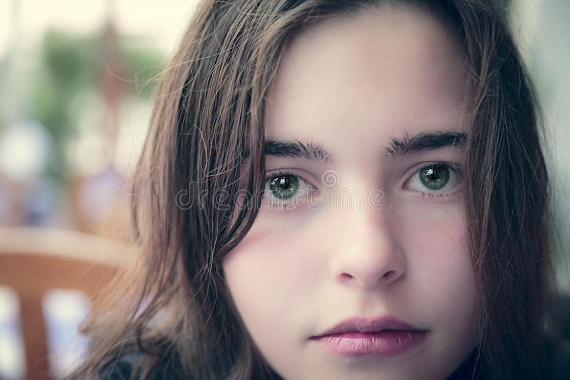 少年女孩的画象 库存图片