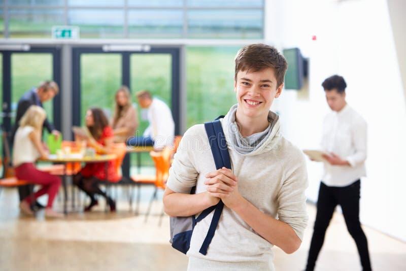 少年男学生画象在教室 免版税库存图片