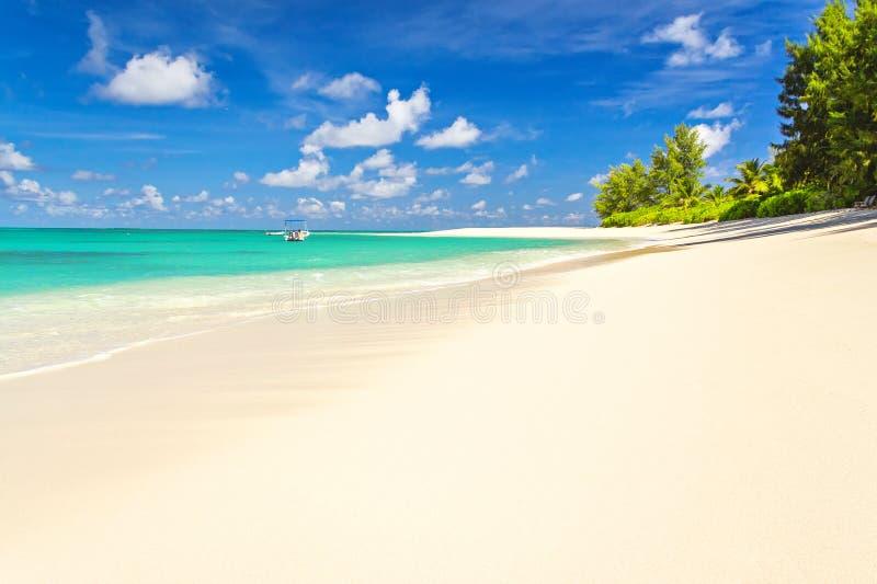 维尔京海滩拉古纳塞舌尔群岛,丹尼斯海岛 库存照片