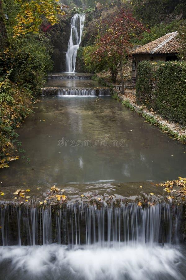 巴尔奇克的城堡的瀑布 免版税库存图片