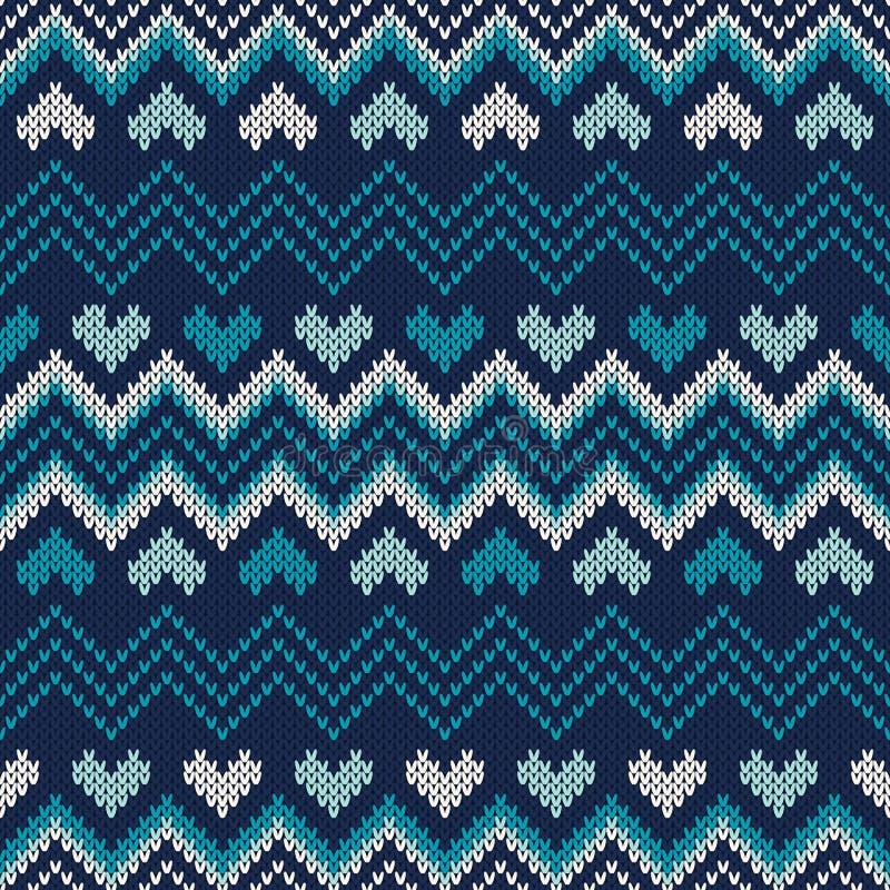 费尔岛样式编织了毛线衣设计 无缝的编织的啪答声 库存例证