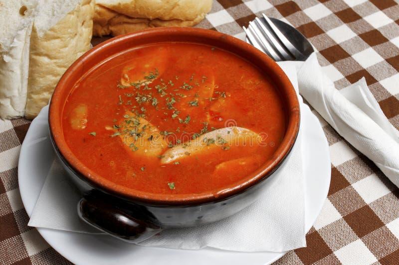 巴尔干炖煮的食物用在一个碗的香肠用面包 免版税图库摄影