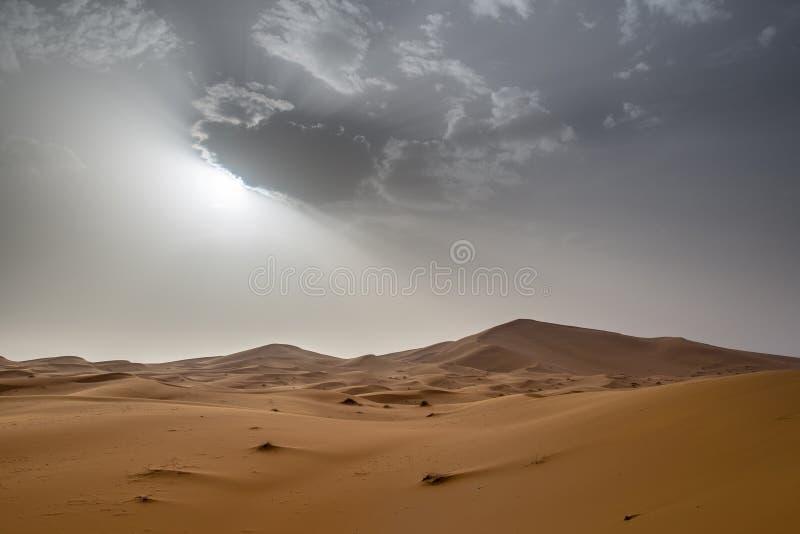 尔格Chebbi沙丘看法在Morroco-撒哈拉大沙漠 免版税库存图片