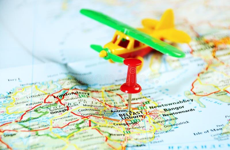 贝尔法斯特爱尔兰,英国地图飞机 免版税库存照片