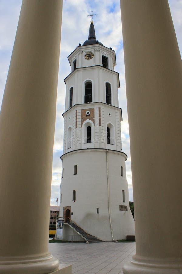 维尔纽斯大教堂钟楼 库存照片