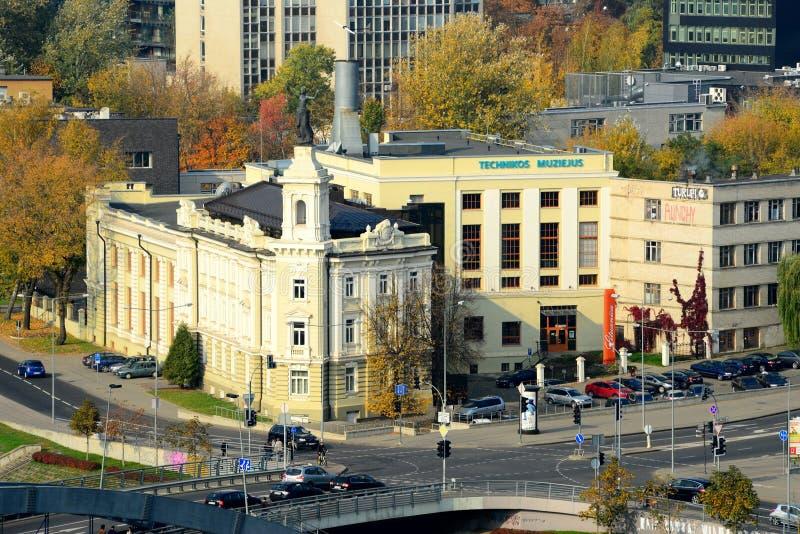 维尔纽斯技术博物馆从Gediminas塔小山射击了 图库摄影