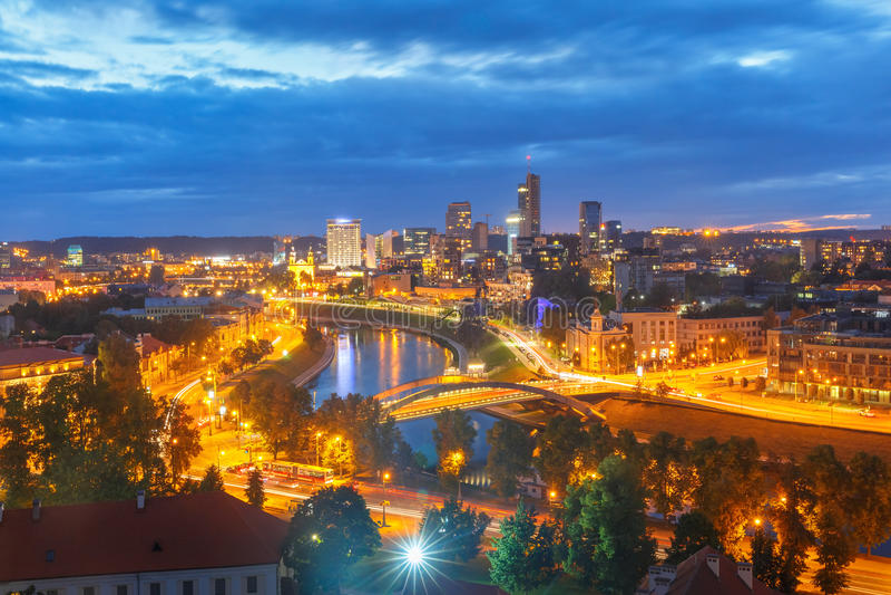 维尔纽斯,立陶宛的全景新的中心 库存照片