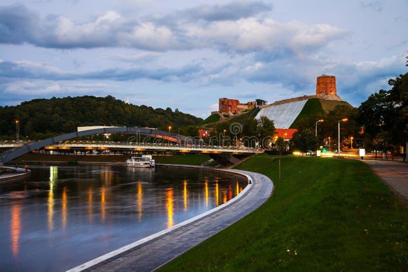 维尔纽斯,立陶宛看法在晚上 图库摄影