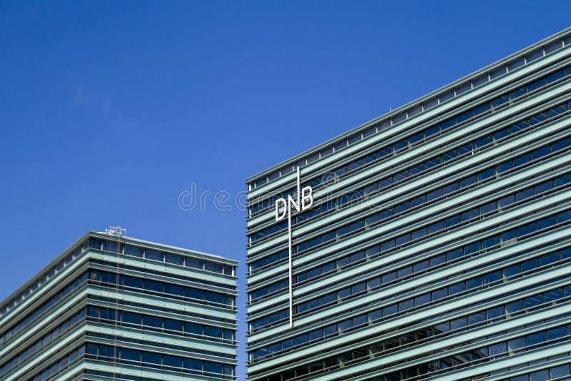 维尔纽斯,立陶宛- 2016年6月29日, :挪威DNB银行关闭新的波儿地克的办公楼  库存图片