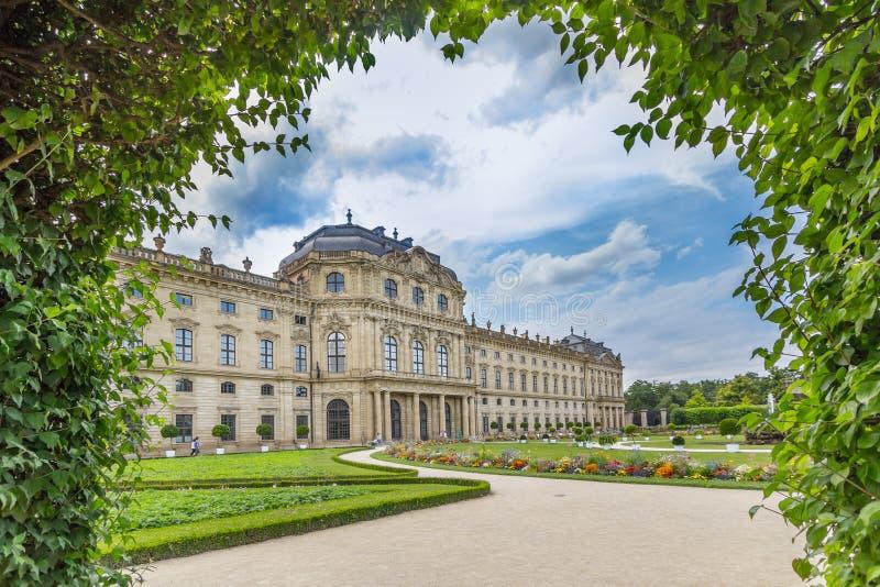 维尔茨堡Residenz,庭院视图在德国 免版税库存照片