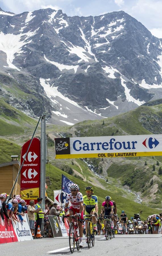 彻尔du Lautaret -环法自行车赛的优胜者2014年 库存图片