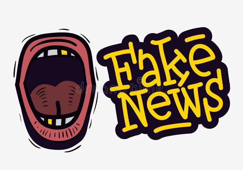 尖叫假的新闻装腔作势地说在一个白色背景传染媒介媒介的手拉的乱画样式 向量例证