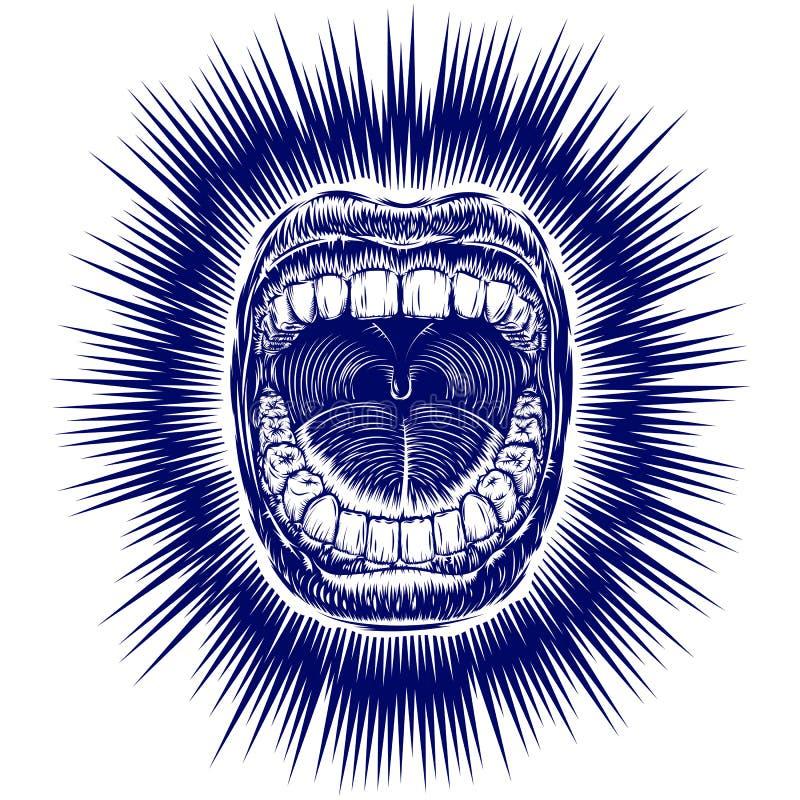 嘴尖叫开放墨水手凹道葡萄酒纹身花刺印刷品射线 库存例证