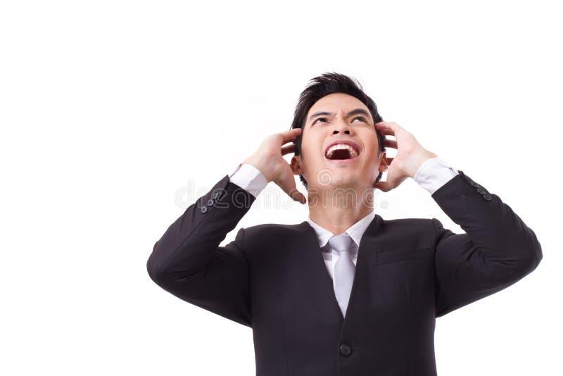 尖叫强调的生意人 免版税库存照片