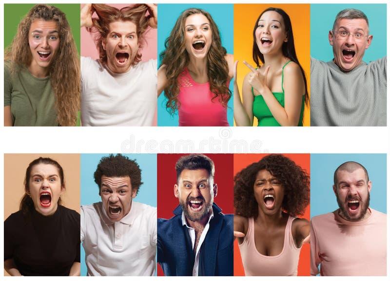 尖叫恼怒的人民 年轻人和妇女的不同的人的表情、情感和感觉拼贴画  库存图片