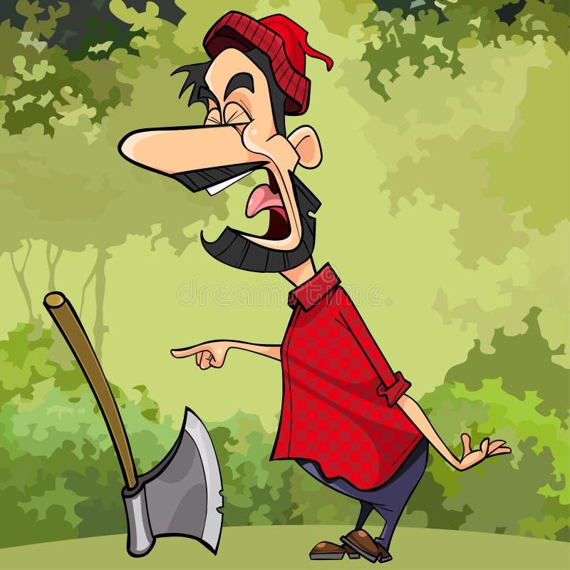 尖叫的动画片在森林里指向他的手指的一名伐木工人 向量例证