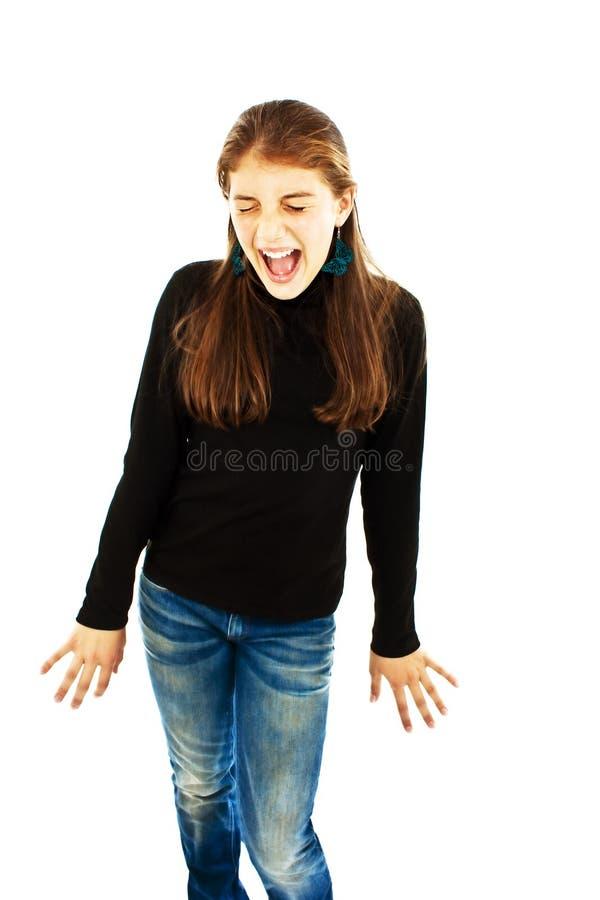尖叫的女孩 免版税库存照片