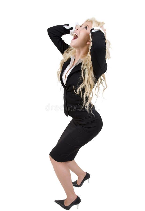 尖叫的女性 免版税库存照片
