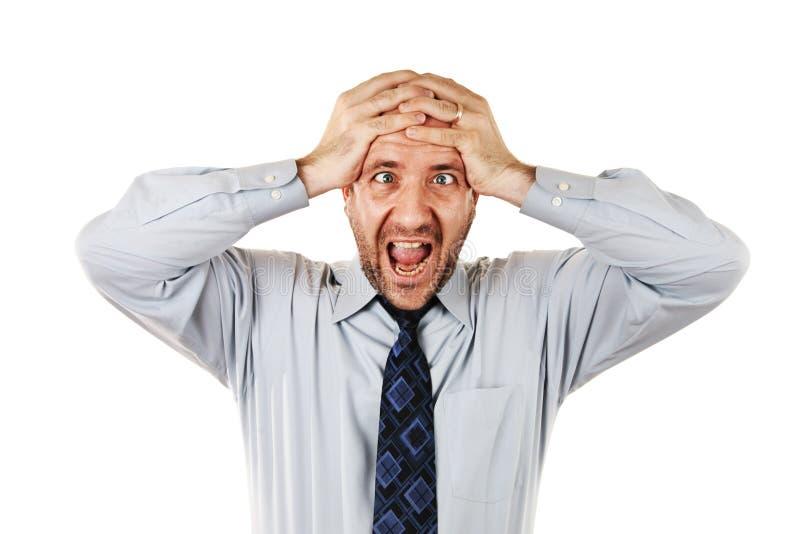 尖叫的生意人 免版税库存照片