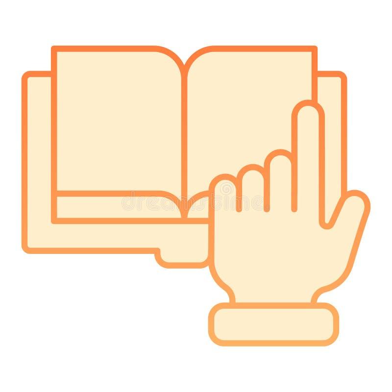 尖手和书平的象 在时髦平的样式的数字书橙色象 电子书梯度样式设计 库存例证