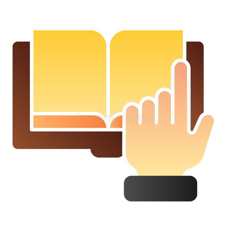 尖手和书平的象 数字书在时髦平的样式的颜色象 电子书梯度样式设计 库存例证