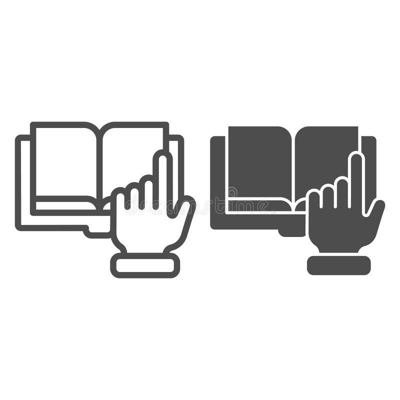 尖手和书线和纵的沟纹象 数字书在白色隔绝的传染媒介例证 电子书概述 皇族释放例证
