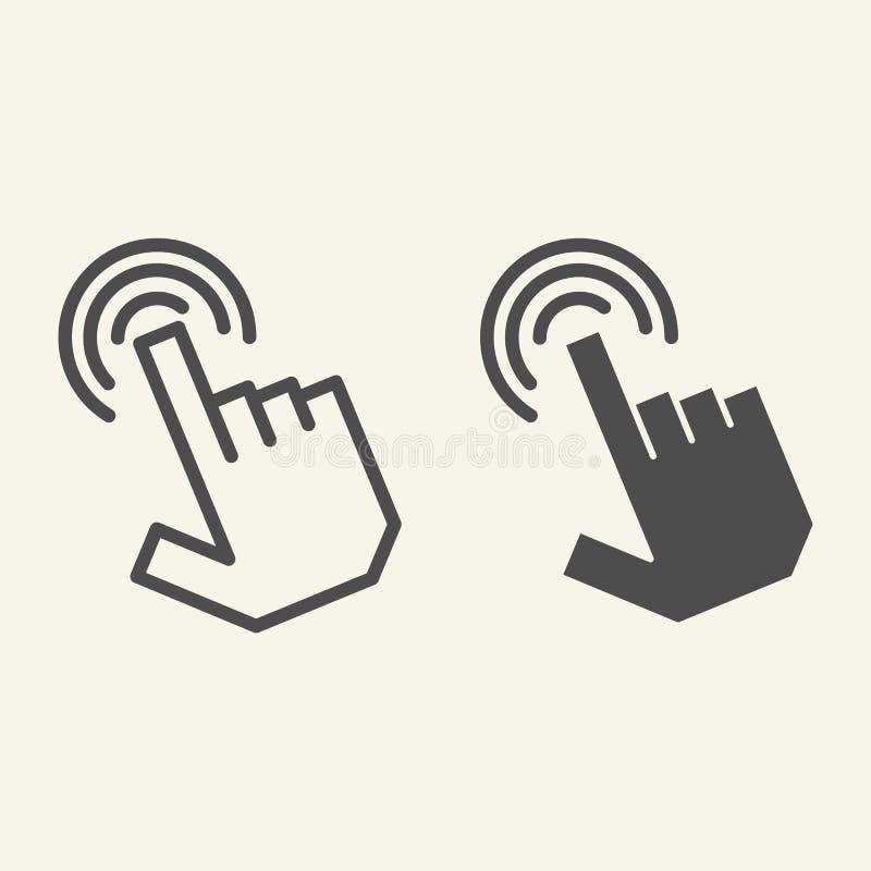 尖手钓丝和纵的沟纹象 手游标在白色隔绝的传染媒介例证 手指尖概述样式设计 皇族释放例证