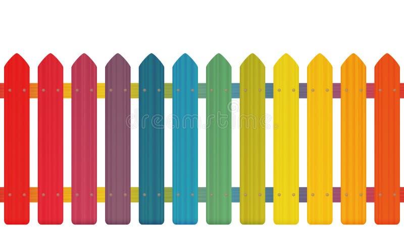 尖桩篱栅彩虹颜色 皇族释放例证