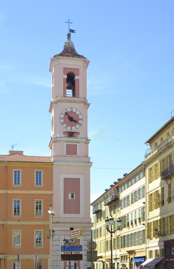 尖沙咀钟楼在尼斯,法国 免版税图库摄影