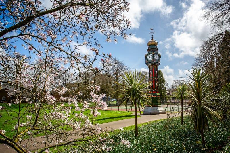 尖沙咀钟楼在自治市镇庭院里,多彻斯特 库存图片
