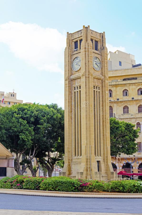 尖沙咀钟楼在贝鲁特,黎巴嫩 库存照片
